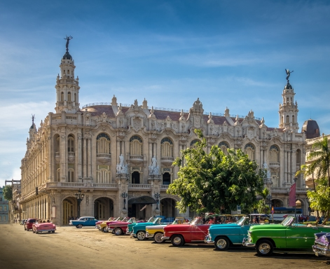 Cuba-Havana-Antique Cars-Gran Teatro