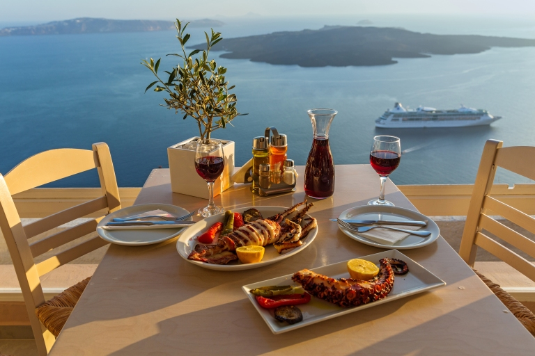 Greece-Santorini-Dinner-Sunset